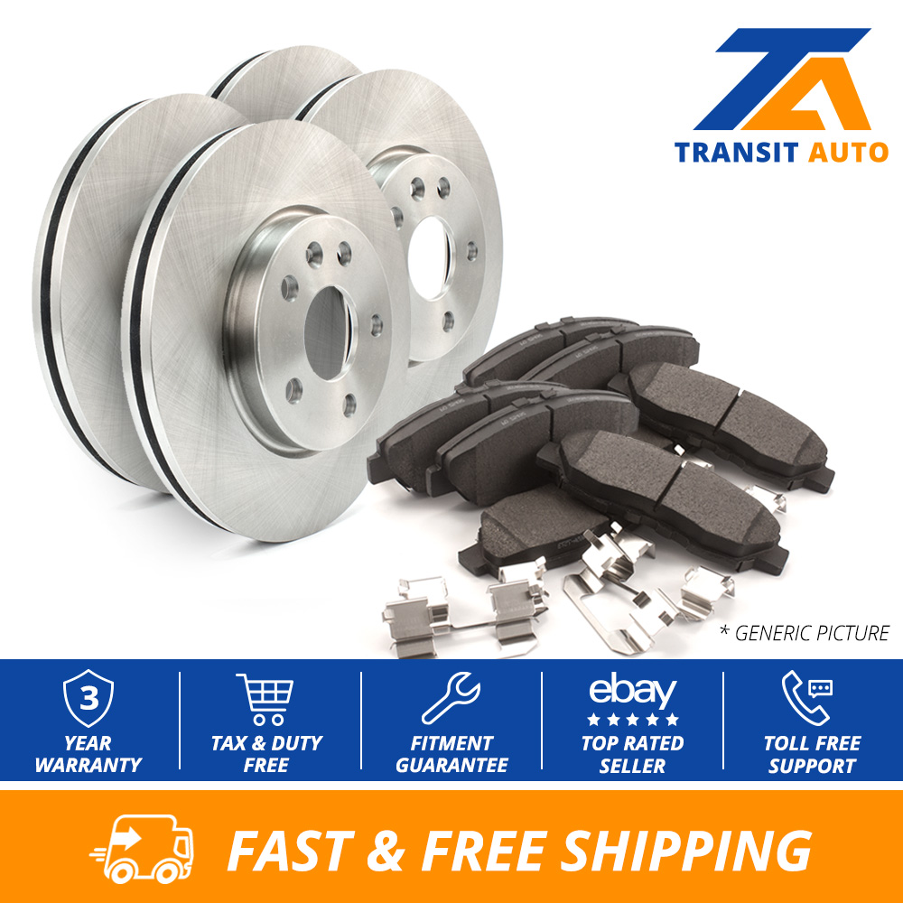 Front Rear Disc Rotors /& Ceramic Brake Pads Fits Lincoln Town Car