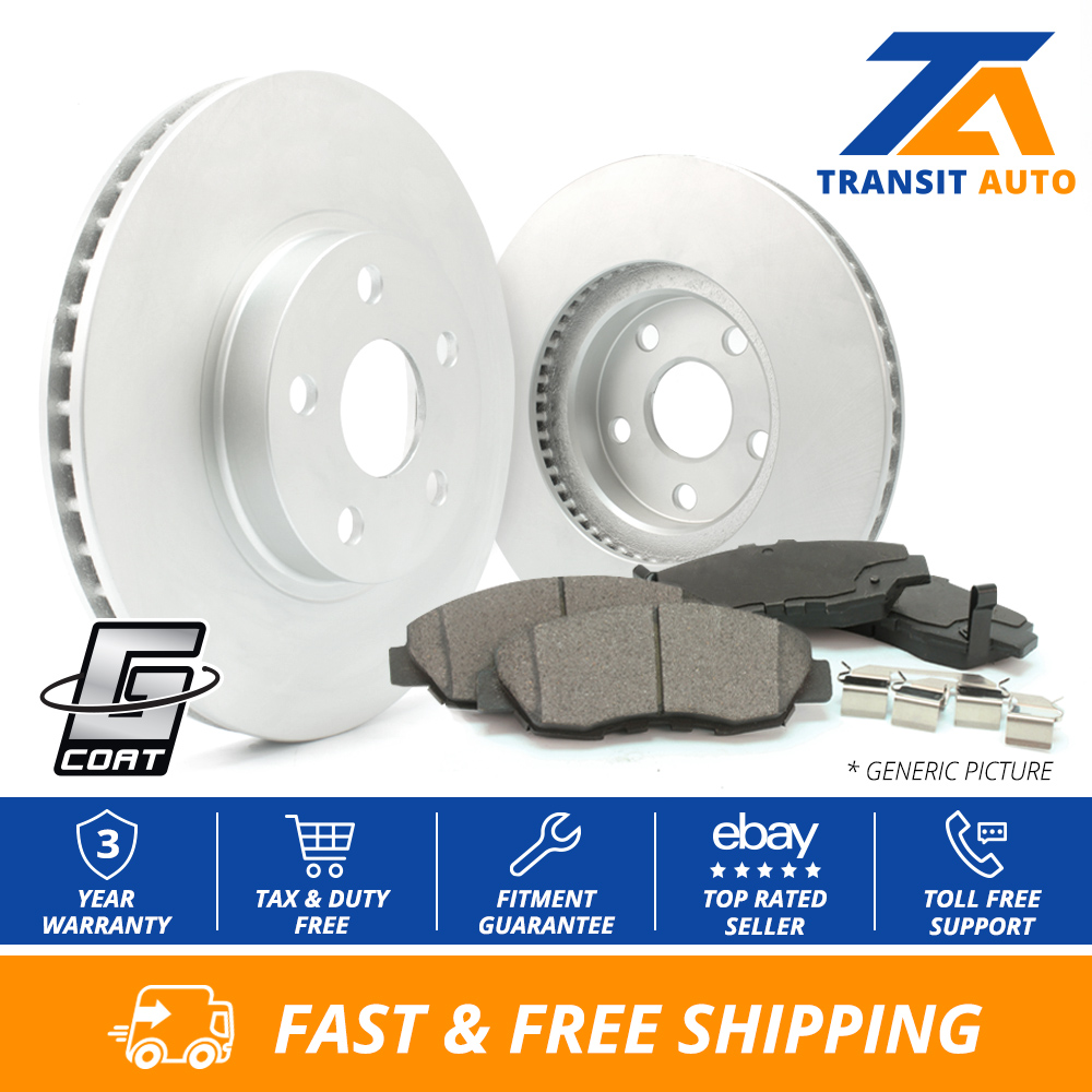 Front Coated Disc Rotors /& Ceramic Brake Pads Fits Cadillac Chevrolet GMC